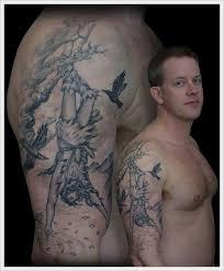 grey ink tree and on right half sleeve tattooshunt com