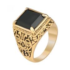 popular cheap gold rings for men buy cheap cheap gold mens rings black precious stones gold color ring for men retro