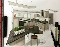 dessiner en perspective une cuisine draw sketch dessin handsketch kitchen cuisine
