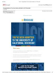 gmail congratulations you have been admitted to uc riverside