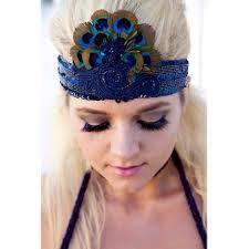 peacock headband embellished avian accessories peacock feathered headband