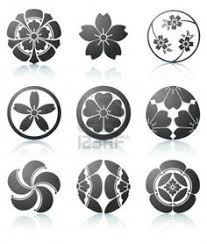 Flowers In Japanese Culture - 1 inch circles black and white japanese crests flowers by artdeco