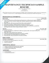maintenance technician resume sample electrical engineer word