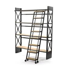 furniture home industrial bookcase with library ladder dotandbo
