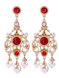 Red Chandelier Earrings Red Artificial Ruby Pearl Chandelier Earrings Rosegal Com