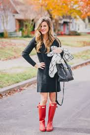 sweater dress and blanket scarf and hunter boots