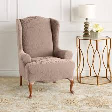 sure fit slipcovers wing chair sure fit stretch jacquard damask wing chair slipcover walmart com