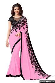 light pink color georgette light pink colour embroidey lace border workdesigner saree