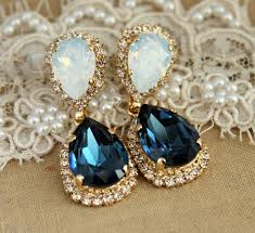 navy blue earrings blue navy white opal chandelier earring swarovski chandelier