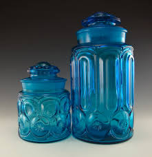 l e smith colonial blue moon and star vintage glass canister set