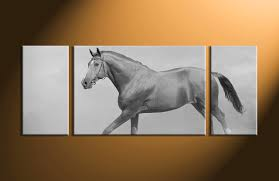 Horse Home Decor by 3 Piece Black And White Canvas Horse Wildlife Large Pictures