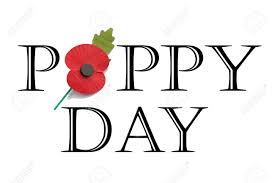 poppy day in words on white background with red poppy for