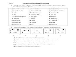 elements compounds and mixtures worksheet answers u2013 guillermotull com