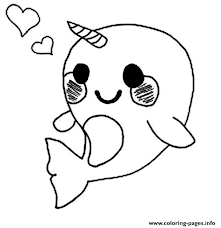 Cute Baby Narwhal Coloring Page Coloring Pages Printable Coloring Page