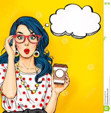 1 Year Invitation Birthday Cards Pop Art With Coffee Cup In Glasses With Thought Bubble Party