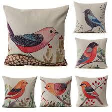 43cm 43cm flower bird animal print cushion cover cotton linen