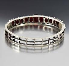 garnet bracelet silver images Art deco sterling silver garnet bangle bracelet boylerpf jpg