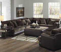 living room brown leather sofa with arms and backrest design