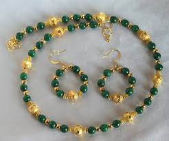 gold plated bead necklace images Green malachite and stardust gold plated bead necklace and jpg