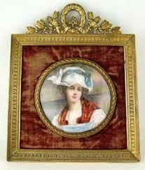 Gilt Bonze Enameled Portrait 19c Limoges Enamel Miniature Portrait Plaque Gilt Bronze