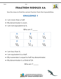free printable fraction worksheets fraction riddles harder