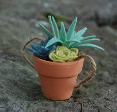 Cute Succulent Pots Tiny Felt Succulents In A Clay Pot Faux Succulents Potted