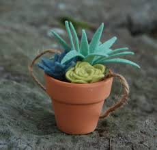 tiny felt succulents in a clay pot faux succulents potted