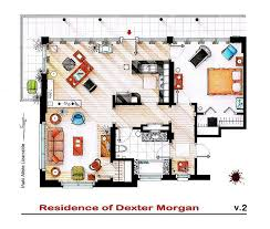 Color Floor Plan Dexter U0027s Apartment Floor Plan Artwork Dexter Tv Show Weekly News