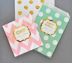 1st birthday party favors birthday party favor bags mint and pink