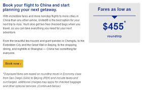 united airlines checked baggage fly united airlines to china for 455 round trip flying high on