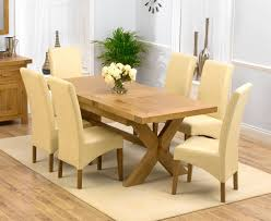 Solid Oak Dining Table Solid Oak Designer Furniture Large Dining Table And Six Leather