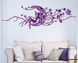 living room hanging birds cage tree branch and birds living room large moon fairy flower vines living room wall decals purple vinyl wall decal sticker white fabric