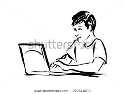 sketch young boy working on computer stock vector 219511885