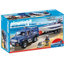 police truck playmobil police truck with speedboat 5187 40 00 hamleys for