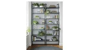 Stairway Grey 96quot Wall Mounted Bookcase Cb2 96 Bookcase Home Vid
