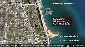 Chicago Google Map by Map Pedestrian Bridge Over Lake Shore Drive To Close Chicago