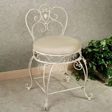 Vanity Seat Bathroom White Wrought Iron Vanity Chair With Curved Backrest And
