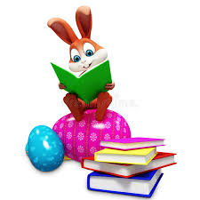 easter bunny book bunny sitting on egg reading a book stock illustration