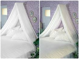 Bed Canopies Bed Canopy Inc Voile Wall Rod Kit White Fits Single