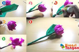 cara membuat bunga dengan kertas hias kerajinan tangan membuat bunga tulip dari kertas krep ariska