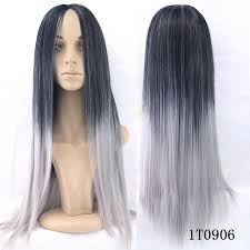 japanesse women with grey hair fashion japanese anime hair wigs black silver grey synthetic long