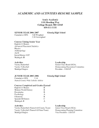 Psychology Resumes Resume Template For College Application Example College
