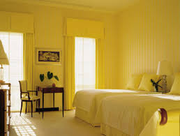 surpricing fiery yellow wall color showcasing twin single bed and