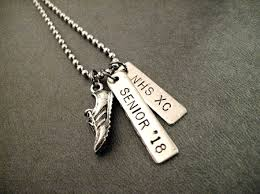 personalized necklace cross country or track running personalized necklace bracelet