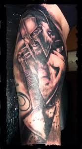spartan worrior legend tattoo on right half sleeve photo 2