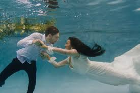 underwater wedding ethereal underwater styled wedding shoot underwater