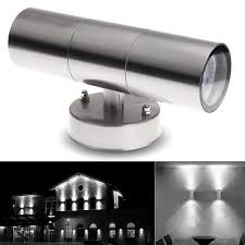 outdoor double wall light ac85 265v waterproof stainless steel up down gu10 led wall light