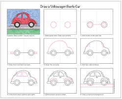 draw a vw beetle car art projects for kids painting