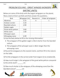 4th grade math word problems great winged wonders metric kelpies