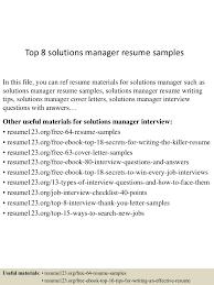 manager resume example top8solutionsmanagerresumesamples 150514023445 lva1 app6892 thumbnail 4 jpg cb 1431570932